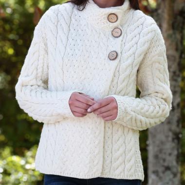 Aran Woollen Mills Ecru High Collar 3 Buttons Vest