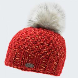 Kusan Red Pompom Beanie with Shiny Thread