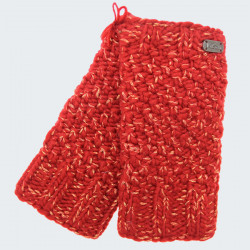 Kusan Red Mittens with Shiny Thread