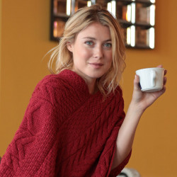Aran Woolen Mills Red Twisted Poncho