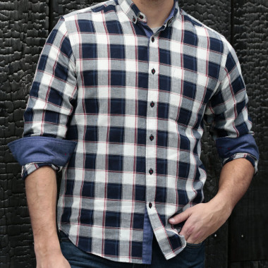 Out Of Ireland Ecru Blue and Red Plaid Shirt