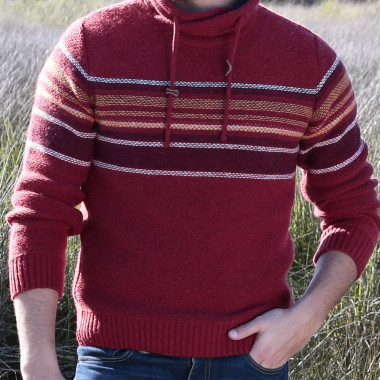 Out Of Ireland High Collar Striped Brick Sweater