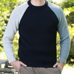 Peregrine Contrast Sleeve Navy English Ribs Sweater