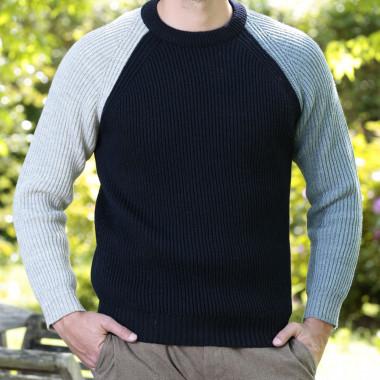 Peregrine Contrast Sleeve Navy English Coastal Sweater