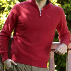 Best Yarn Red 1/2 Zip Collar Sweater