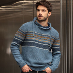 Out Of Ireland Denim Blue Striped High Neck Sweater