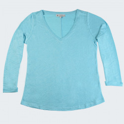 Out Of Ireland Blue Long Sleeves V Neck Linen T-Shirt