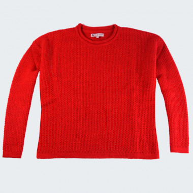 Out Of Ireland Fancy Stitch Rolled Collar Red Sweater