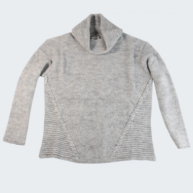 Pull Maille Fantaisie Col Boule Gris Out Of Ireland