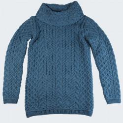Pull Aran Col Boule Bleu Paon Inis Crafts
