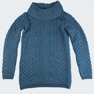 Pull femme col col boule bleu paon inis craft