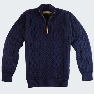 Inis Crafts Navy Zip Sweater