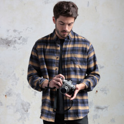 Out Of Ireland Blue and Camel Flannel Shirt