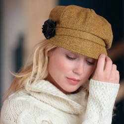 Casquette Irlandaise Tweed Moutarde Mucros Weavers