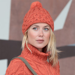 Bonnet Pompon et Revers orange Aran Woolen Mills