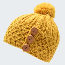 Aran Woolen Mills 3 golden yellow Button Pompom Beanie