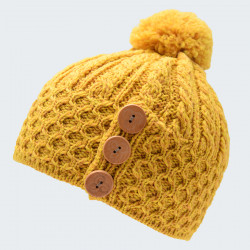 Bonnet Jaune Or Pompons 3 Boutons Aran Woolen Mills