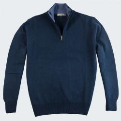 Best Yarn Dark Petrol 1/2 Zip Collar Sweater
