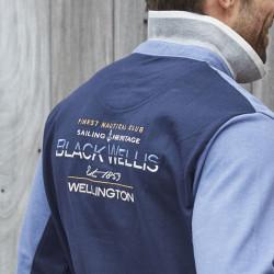 Black Wellis Long Sleeve Blue and Heather Navy Polo Shirt