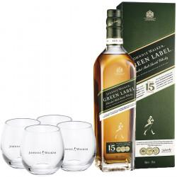 Pack Johnnie Walker Green Label 15 years 43 ° + 4 glasses