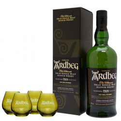 Pack Ardbeg 10 Years Old Un-chillfiltered 70cl 46° + 4 shooters