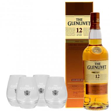 Pack Glenlivet 12 ans First Fill 70cl 40° + 4 verres