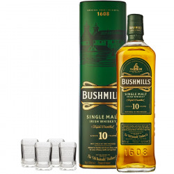 Pack Bushmills 10 ans 70cl 40° + 4 shooters