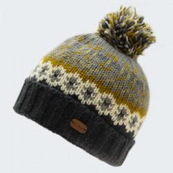 Kusan Gray Jacquard Pattern Pompom Hat
