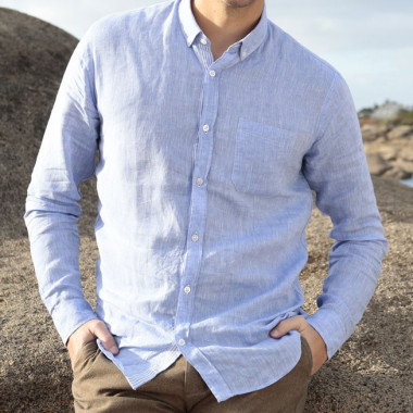 Out Of Ireland 100% Linen Blue Shirt