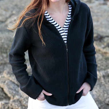 Out of Ireland Navy Zipped Hooded Cardigan