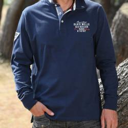 Black Wellis Gingham Collar Navy Polo Shirt