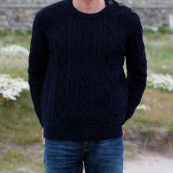 Inis Crafts Round Collar Sweater Marine Blue