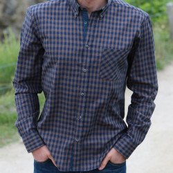 Out of Ireland Navy & Brown Gingham Shirt