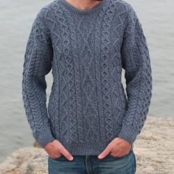 Carraig Donn Blue Aran Merino Sweater