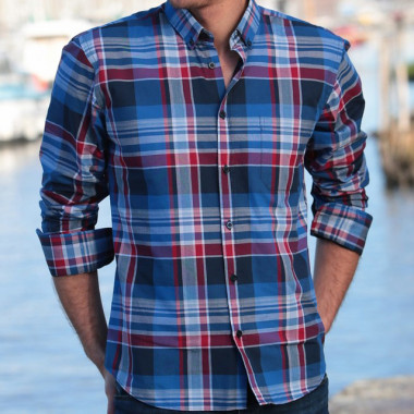 Chemise Grands Carreaux Indigo et Rouge Out Of Ireland