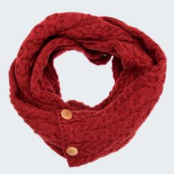 Aran Woollen Mills Red Snood with Button