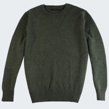 Celtic Alliance Round Neck Green Extra Fine Wool Sweater
