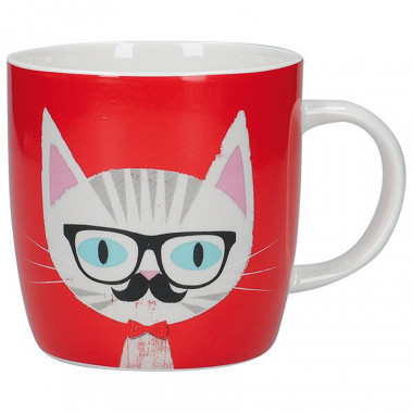 Red Cat Barrel Mug 425ml