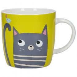 Cat Green Barrel Mug 425ml
