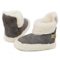 Chaussons Boots Velours Gris Clair Alwero