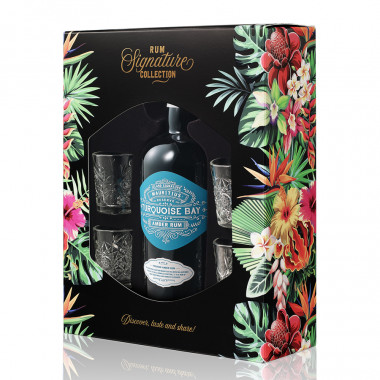 Turquoise Bay Gift Box + 4 Shot Glasses 70cl 40°