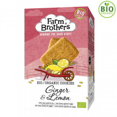 Farm Brothers Organic Lemon and Ginger Biscuits 150g