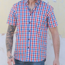Out Of Ireland Blue And Red Vichy Short Sleeve Shirt