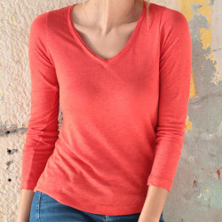 Out Of Ireland Red Long Sleeves V Neck Linen T-Shirt