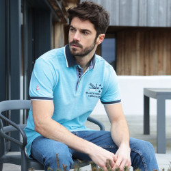 Black Wellis Turquoise Mouline Polo Shirt