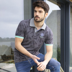 Black Wellis Grey Leaf Print Polo Shirt