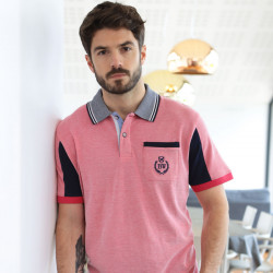 Black Wellis Fuchsia Mouline Polo Shirt