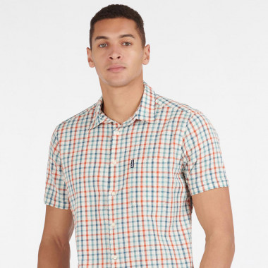 Barbour Ecru Blue Red Check Short Sleeve Shirt