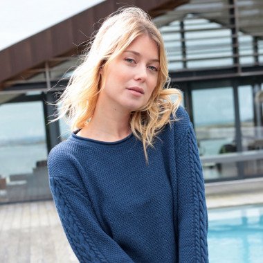 Out of Ireland Cable-Sleeve Blue Jumper