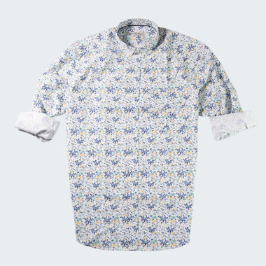 Out Of Ireland Blue Flowers Print Shirt